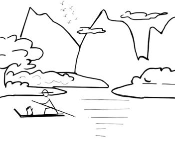 山水风景画简笔画教程