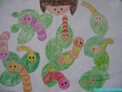 蜡笔画- 可爱的蚕宝宝