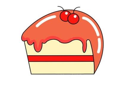 夹心蛋糕简笔画的彩色画法步骤图片教程