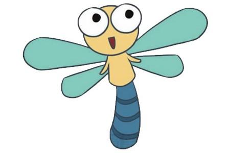卡通蜻蜓简笔画画法步骤图片