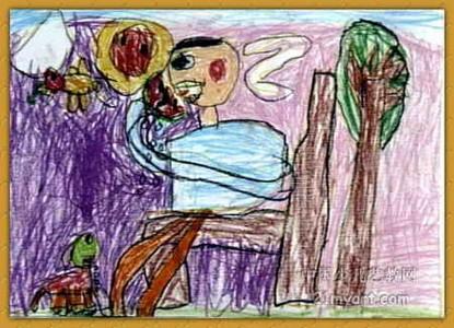 蜡笔画-《吃西瓜》
