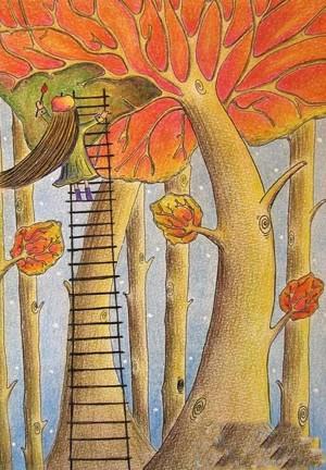 秋天的景色儿童画作品