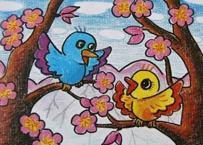 春暖花开儿童画
