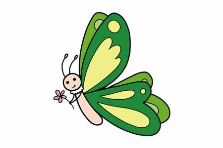 轻松画蝴蝶简笔画彩色可爱 步骤教程