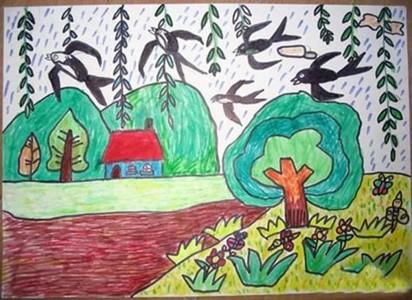 春天柳树燕子儿童画