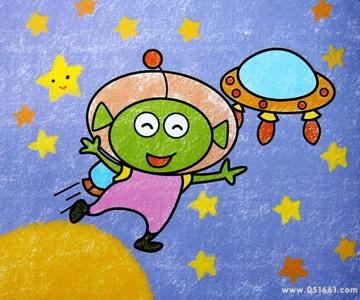 蜡笔画-我爱的太空人