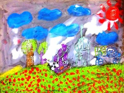 小村庄儿童油彩水笔画作品欣赏