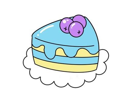 蓝莓蛋糕简笔画步骤图解教程