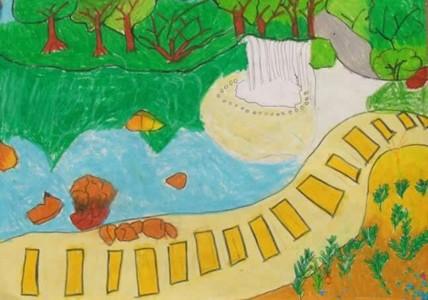 公园的一角儿童风景画