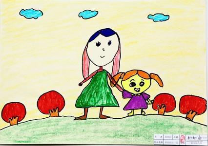 水彩画-我和妈妈在一起