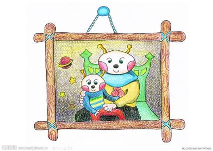 蜡笔画-幸福一家人