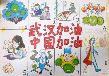 武汉加油中国加油儿童画画简单