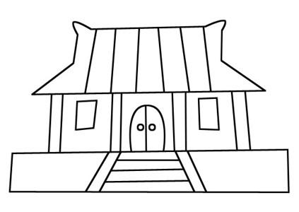中国古代/寺庙建筑简笔画图片