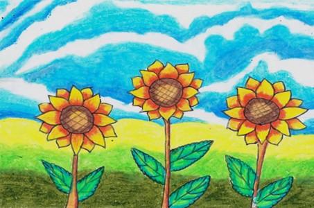向日葵蜡笔画