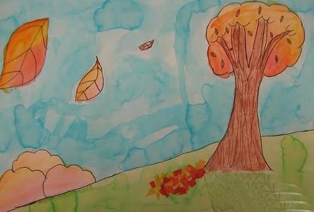 秋天的落叶风景儿童画