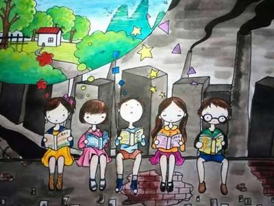 世界地球日携手保护环境儿童画