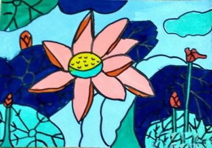 儿童简单水粉画荷花图片