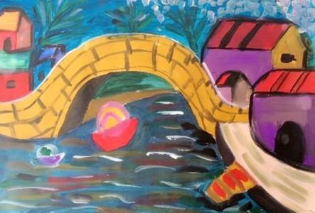 小桥流水儿童画