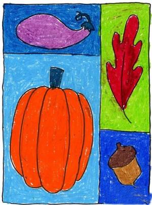 幼儿园的秋天的蜡笔画