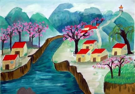 美丽的家乡风景教师范画