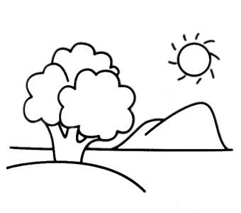 儿童学画山水风景简笔画