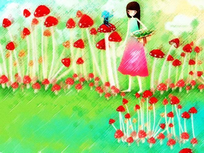 69  儿童画 69  春天里的小蘑菇  蜡笔画 植物 春天