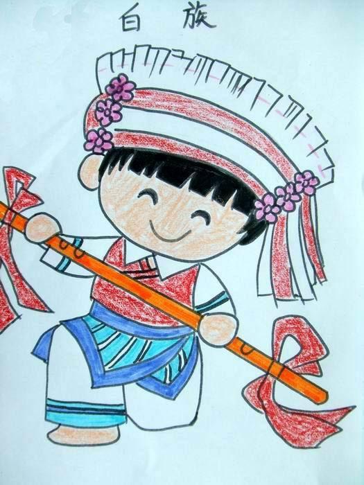 56个少数民族儿童画-白族小姑娘图片