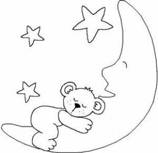 月亮儿童画-小熊在月亮上面