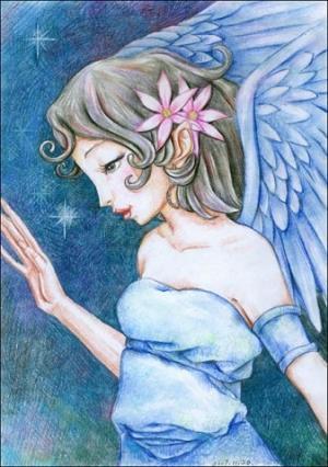 美丽的天使儿童画-纯洁的天使
