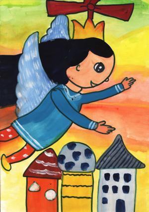 美丽的天使儿童画-天使的梦