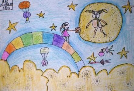 月亮儿童画-月亮吃月饼