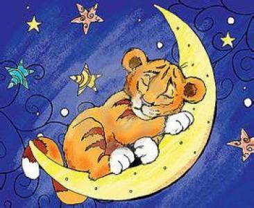 月亮儿童画-月亮上的老虎