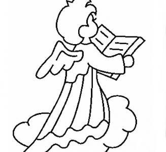 美丽的天使儿童画-爱读书的小天使