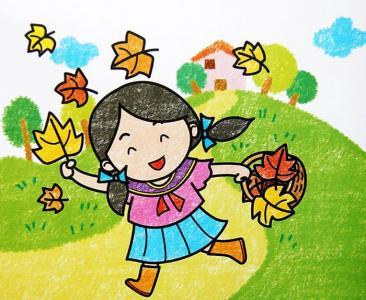 春夏秋冬儿童画-夏天走了秋天到了