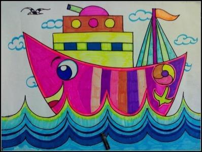 船和大海儿童画-大海的朋友轮船