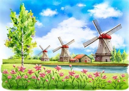 大风车儿童画-小树与风车