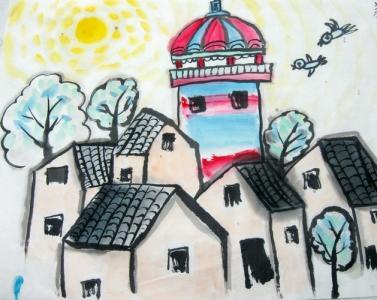 最美丽家乡儿童画大全-我的家园