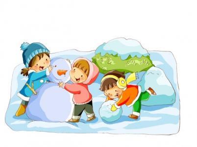 儿童画堆雪人-和朋友一起堆雪人
