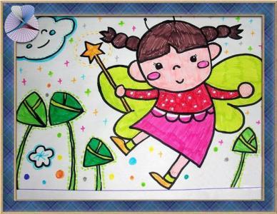 吃粽子儿童画-小女孩和粽子