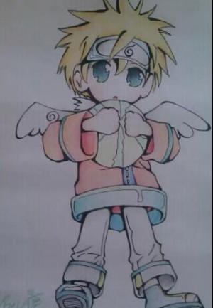 美丽的天使儿童画-酷酷的小天使