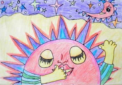 月亮儿童画-看月亮爬上来