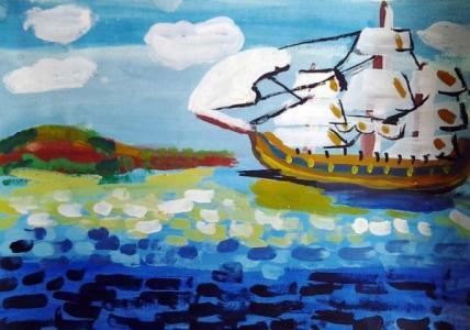船和代还儿童画-海上帆船