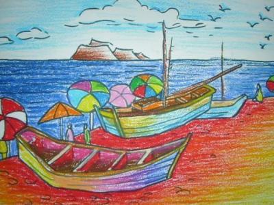 船和大海儿童画-海边的小船
