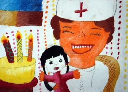 美丽的天使儿童画-白衣天使