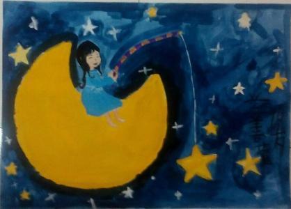 月亮儿童画-在月亮上钓星星