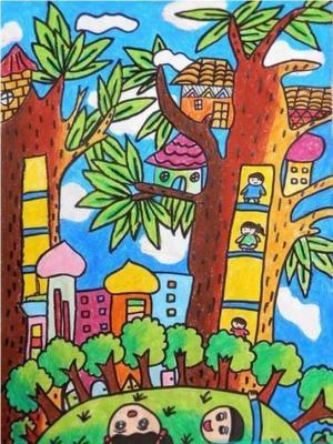 大樹房子兒童畫-樹上的房子
