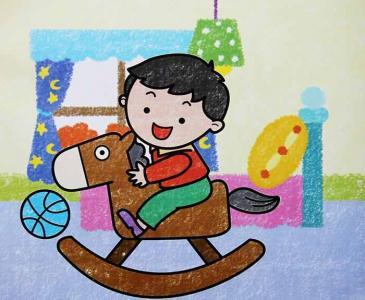 小孩骑木马儿