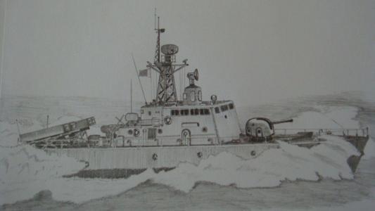 船和大海儿童画-海上的大轮船