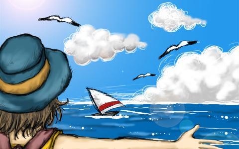 大海蓝天儿童画-海边扬帆图片