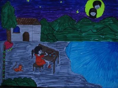 月亮儿童画-和月亮一起吃月饼